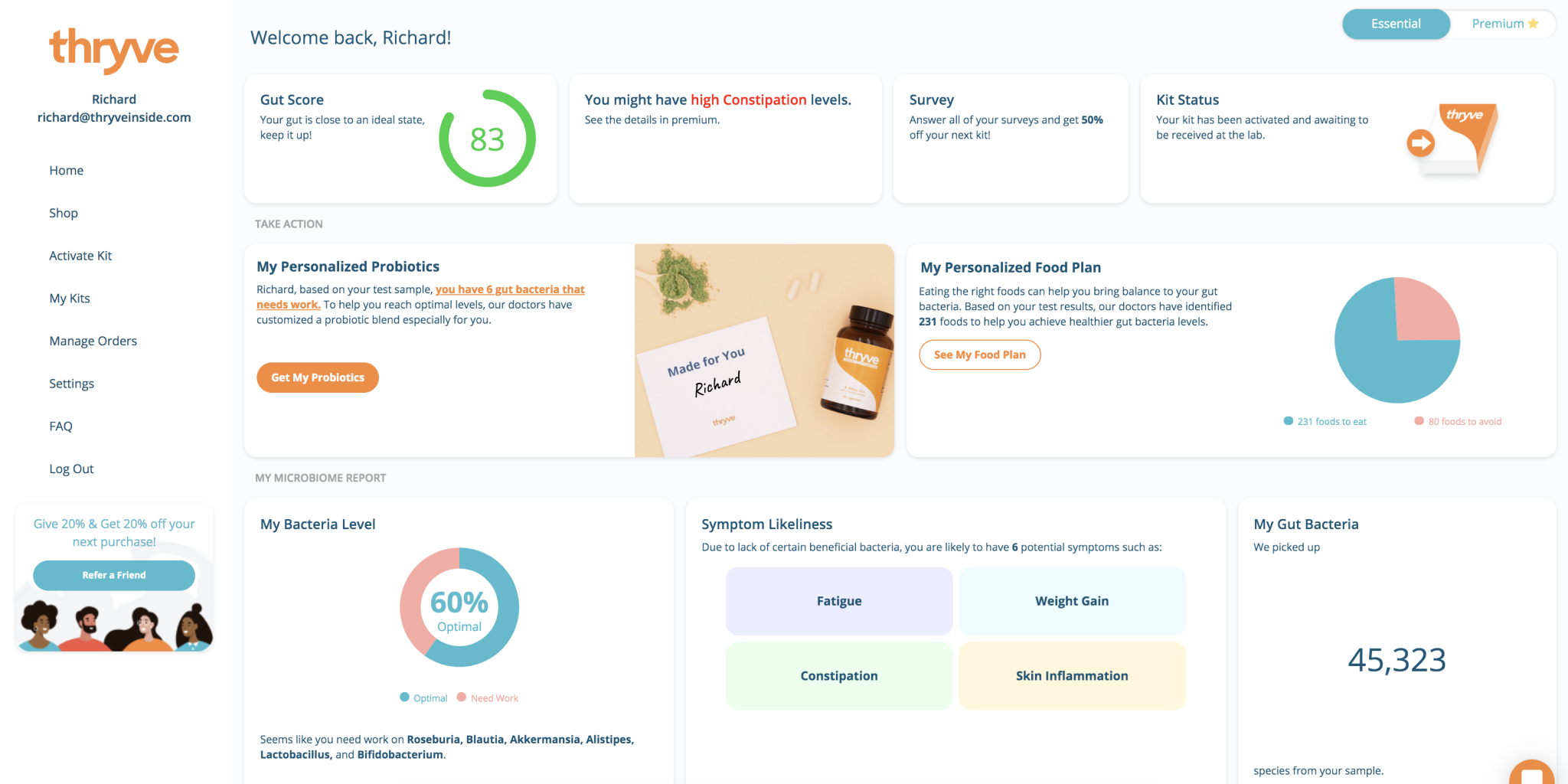 Thryve Gut Health Test Kit Review App Dashboard